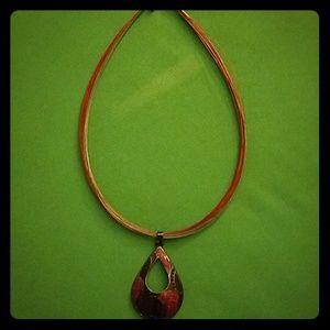 Lovely Sparkly and shiny enamel pendant necklace!